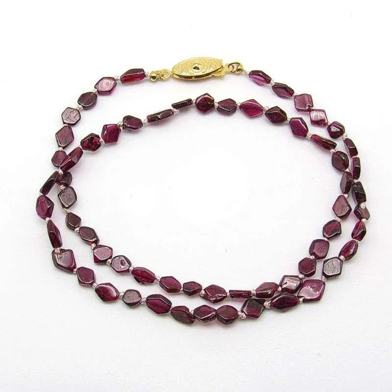 "16"" red garnet diamond bead necklace."
