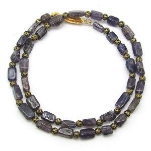 "16"" iolite rectangular bead necklace."