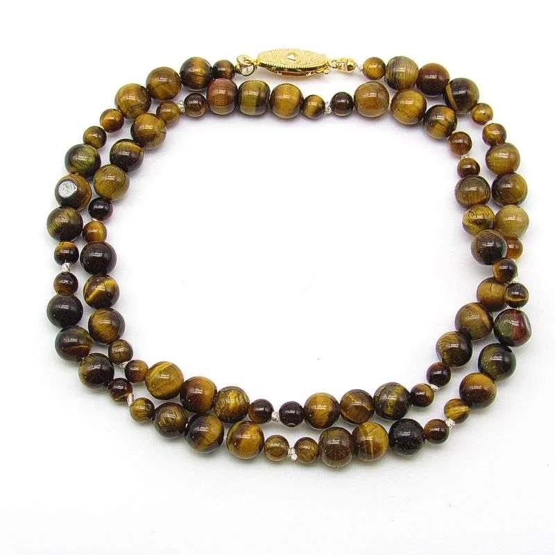 "18"" golden tiger's eye 6mm and 4mm round bead necklace."