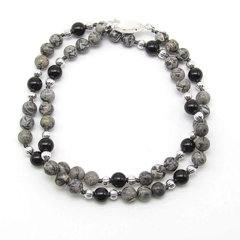 "18"" silver crazy lace and black tourmaline 6mm round bead necklace."