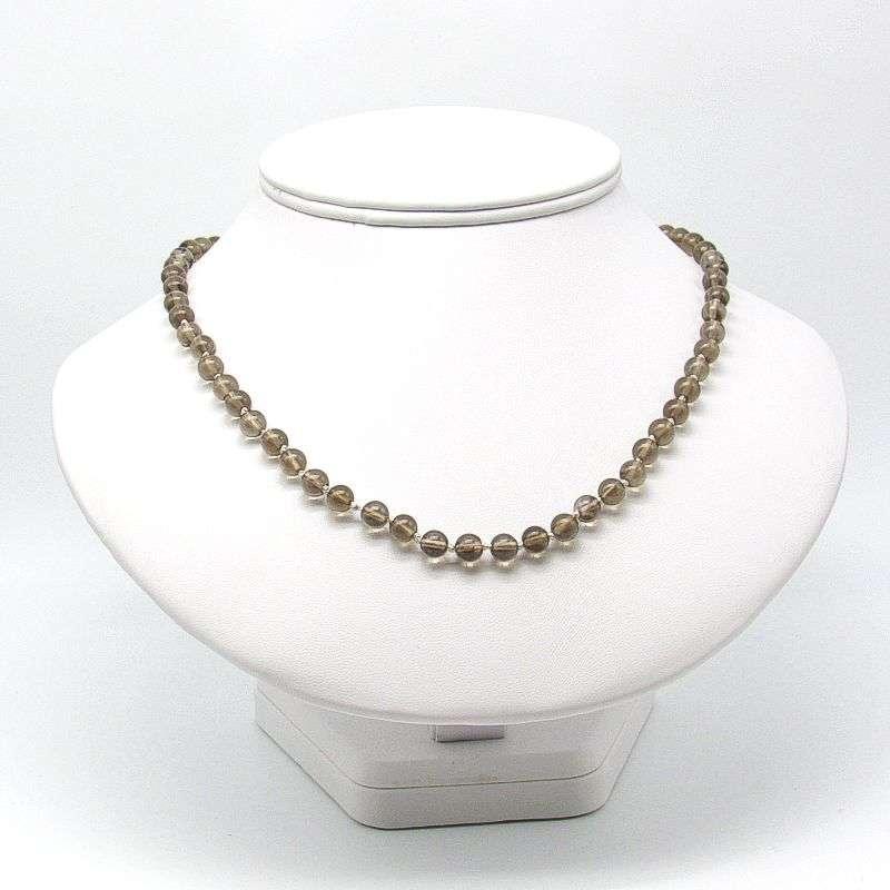 """18"""" smoky quartz 6mm round bead necklace."""