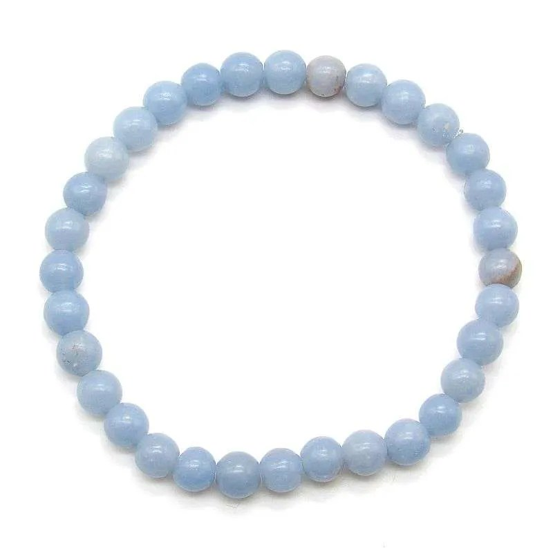 Angelite 6mm gemstone bead bracelet