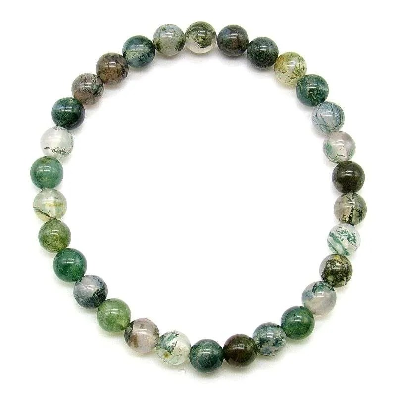 Moss agate 6mm gemstone bead bracelet