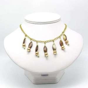 Creamy brown multiple bead drop necklace