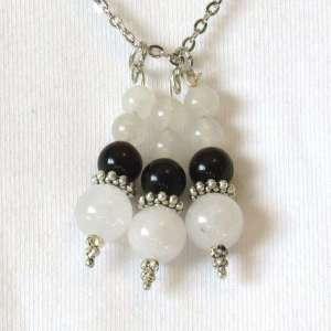 Obsidian & snow quartz bead drops closeup