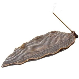 Ceramic leaf incense burner.