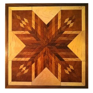 Hardwood quilt block wall hanging