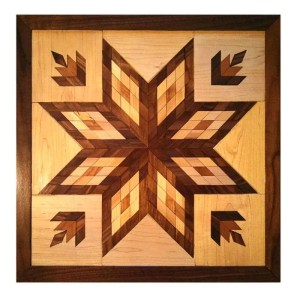 Hardwood quilt block wall hanging.