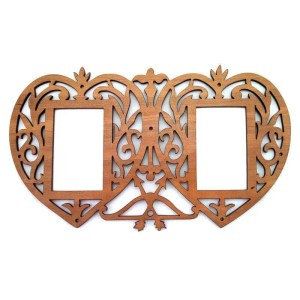 Laser cut cherry wood double heart picture frame.