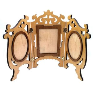 Triple frame hardwood standing picture frame.