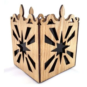 Oak laser cut tea light candle holder starburst pattern-black.
