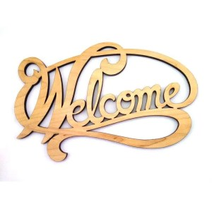 Maple laser carved welcome sign.