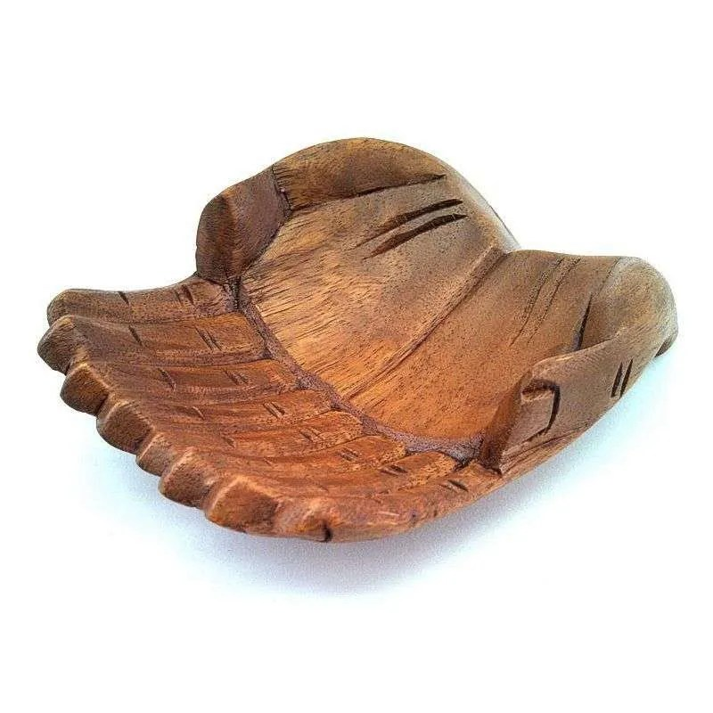 Hand carved wooden hands bowl.