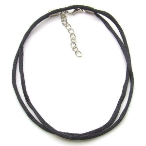 Black satin necklace cord - 18 inch.
