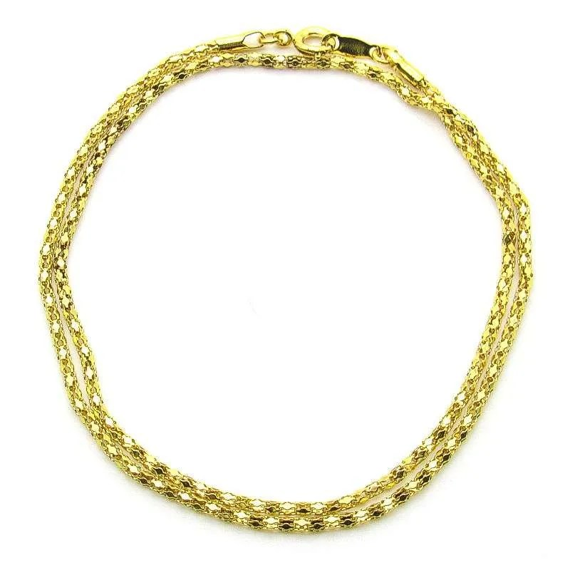 Gold plated steel diamond pattern necklace chain-18 inch.