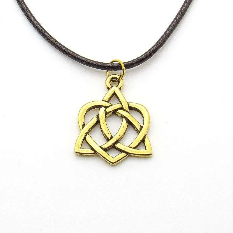 Metal Celtic knot heart pendant-gold