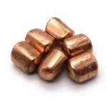 Polished copper slugs.