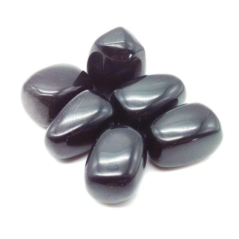 Tumbled black obsidian.