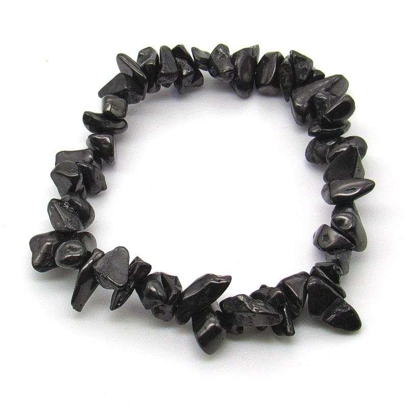 Shungite chip bead bracelet