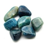 Tumbled blue apatite gemstones.