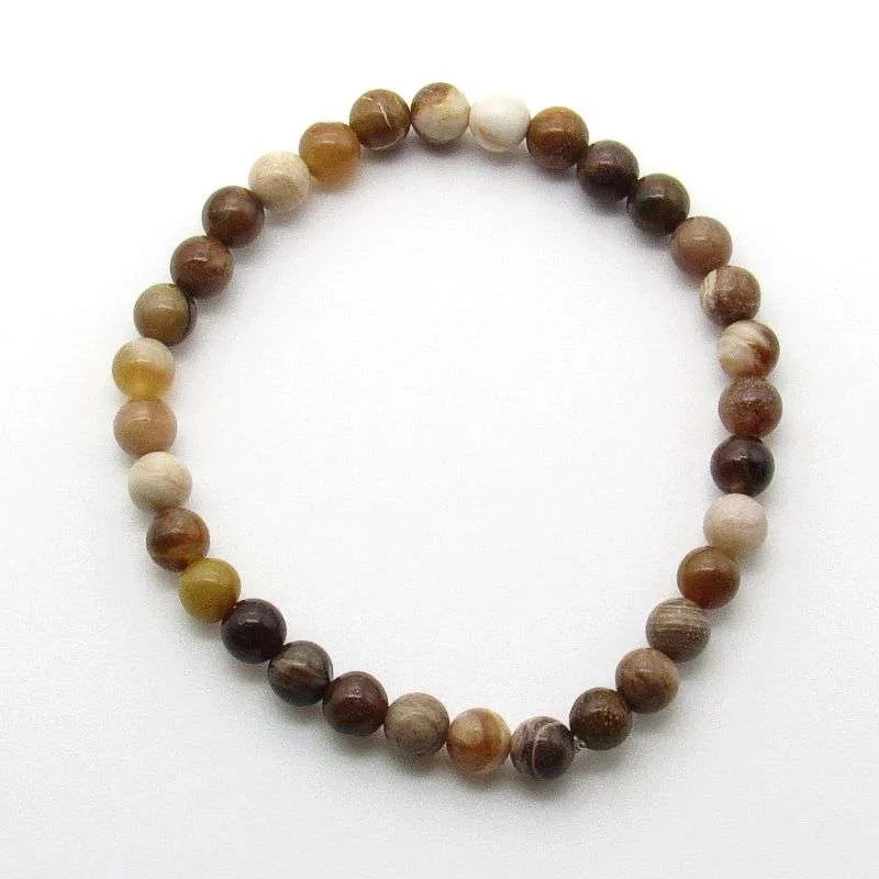 Petrified wood 6mm bead bracelet.