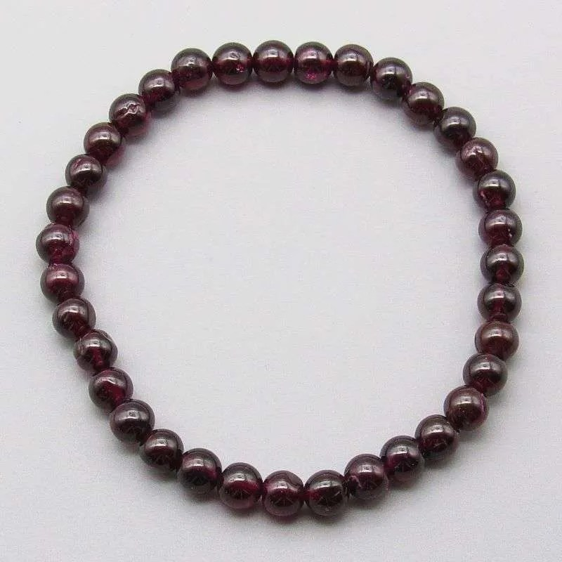 Red Garnet 6mm gemstone bead bracelet.