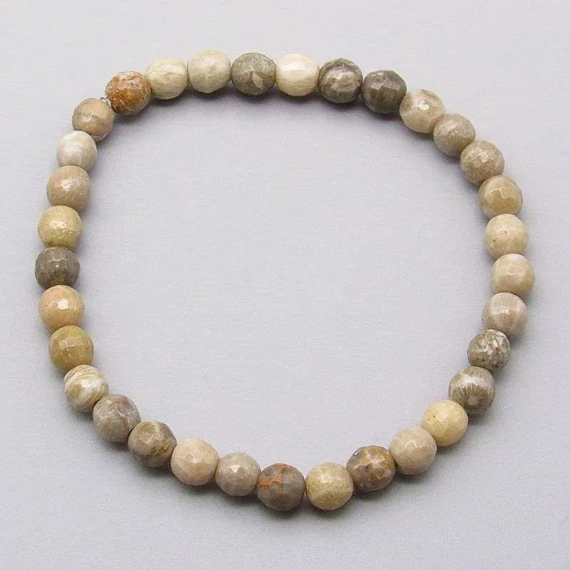 Faceted fossil coral 6mm gemstone bead bracelet.
