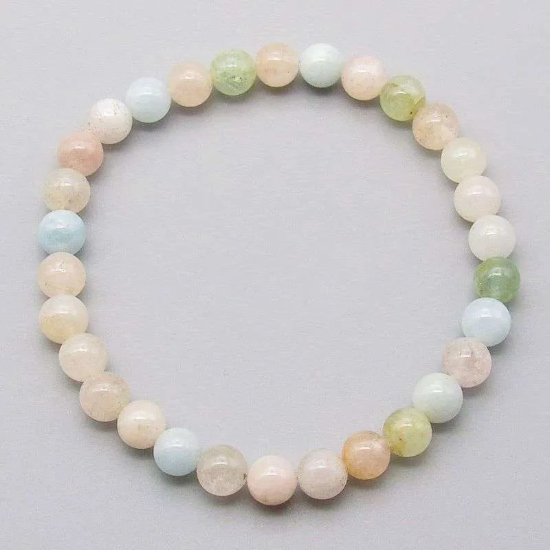 Multi-beryl 6mm gemstone bead bracelet.