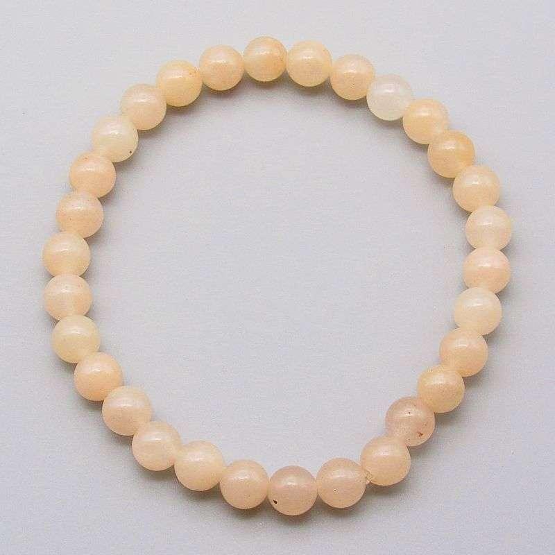 Pink aventurine 6mm gemstone bead bracelet.