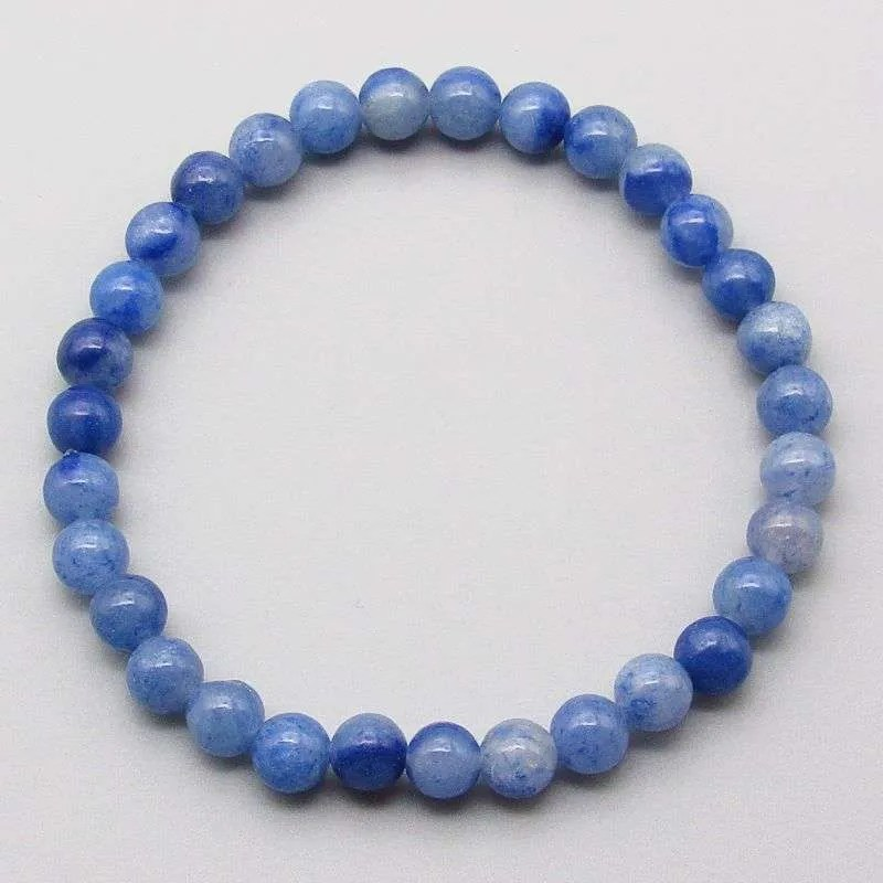 Blue aventurine 6mm gemstone bead bracelet.