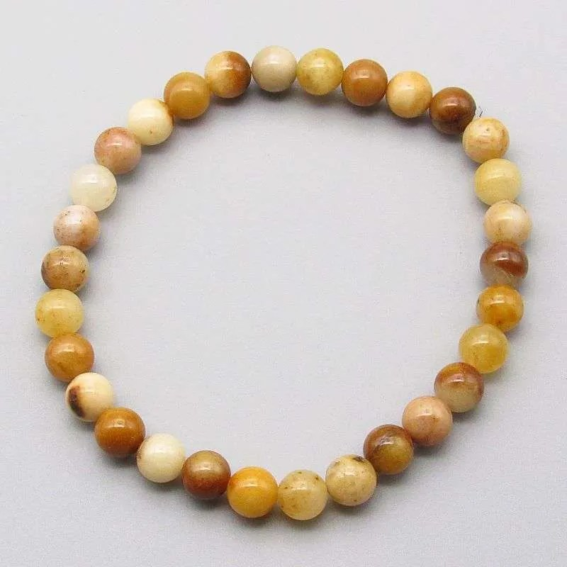 Morocco agate 6mm gemstone bead bracelet.