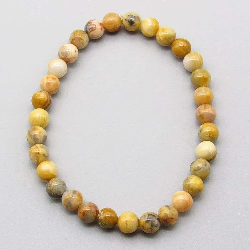 Crazy lace agate 6mm gemstone bead bracelet.