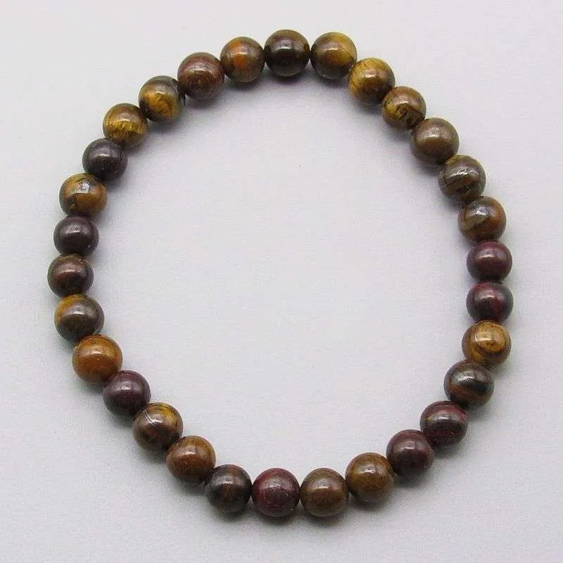 Tiger iron 6mm gemstone bead bracelet.