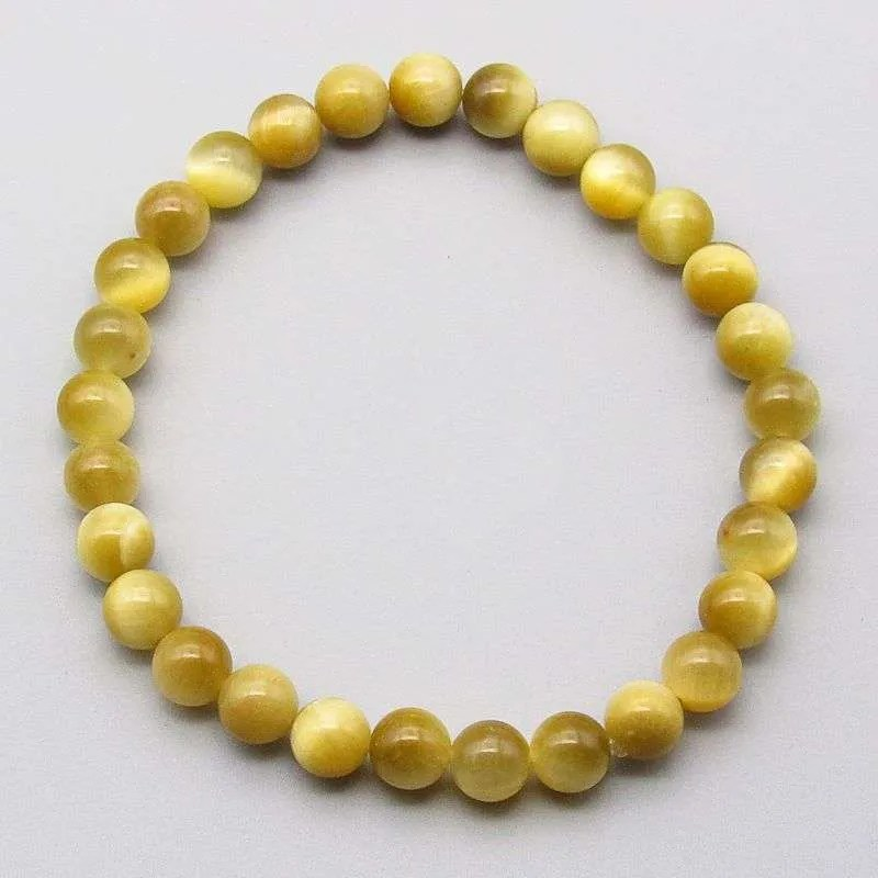 Honey tiger eye 6mm gemstone bead bracelet.