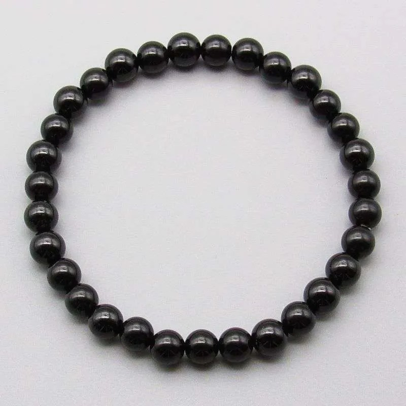 Black tourmaline 6mm gemstone bead bracelet.