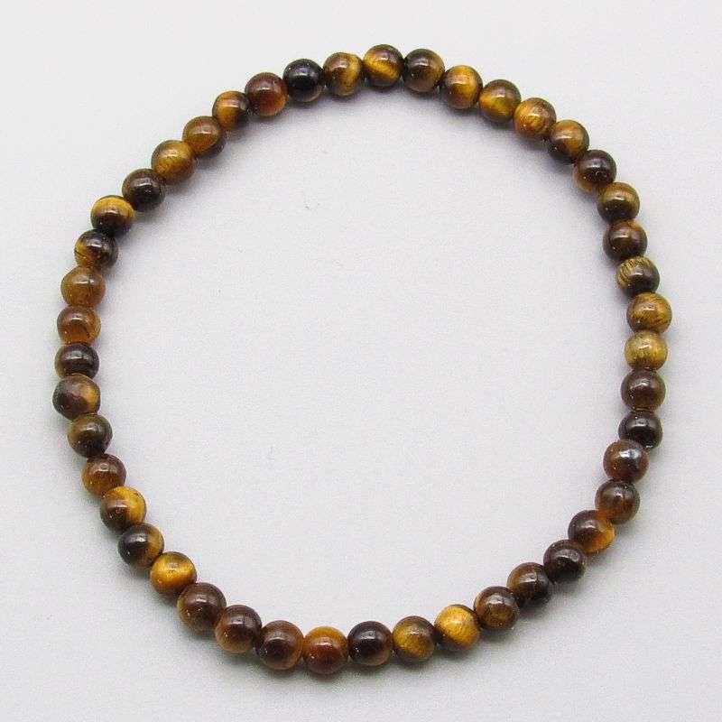 Gold tiger eye 4mm gemstone bead bracelet.