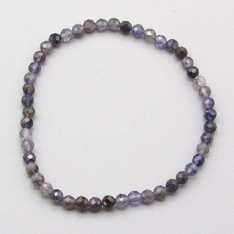 Faceted iolite 4mm gemstone bead bracelet.