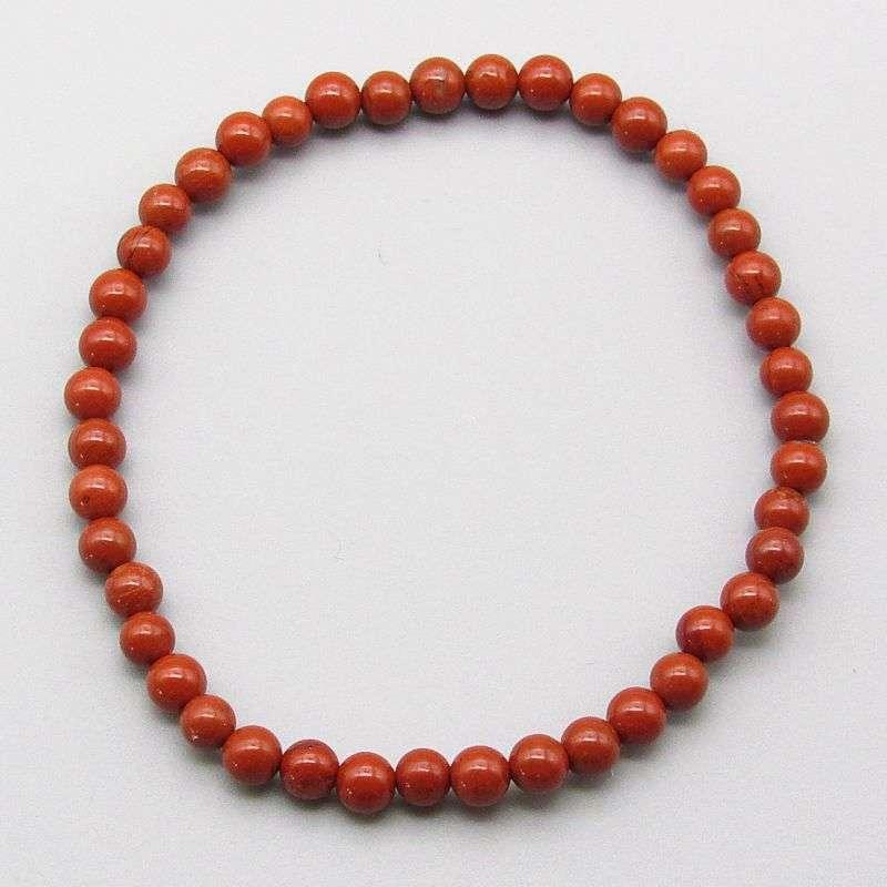 Red jasper 4mm gemstone bead bracelet.