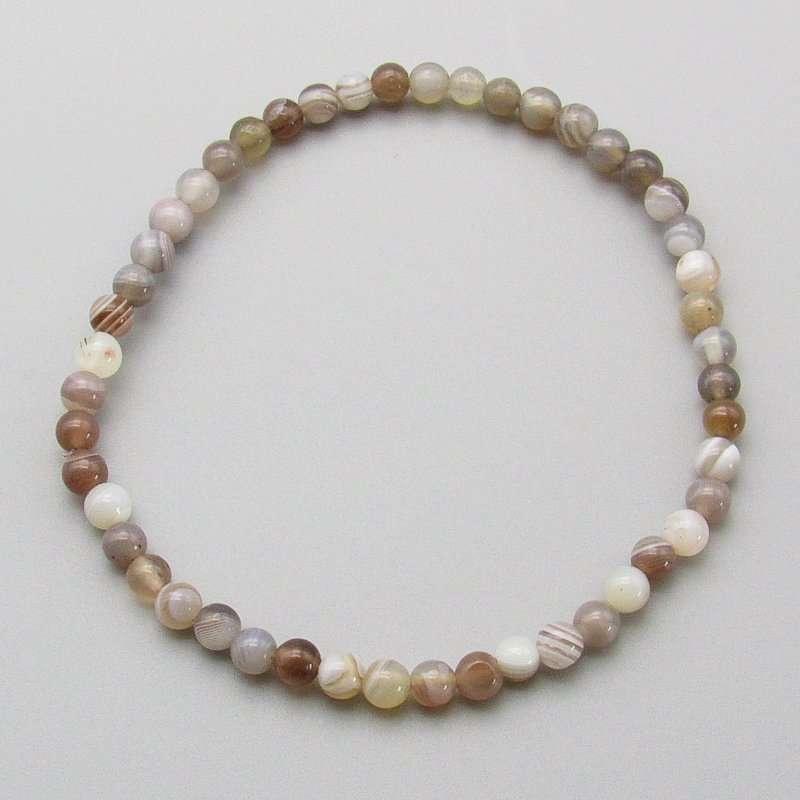 Botswana agate 4mm bead bracelet.