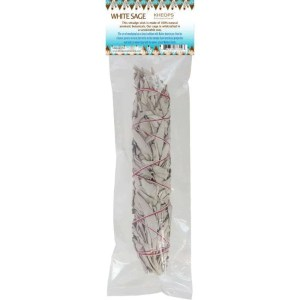 Large bundled white sage smudge stick.