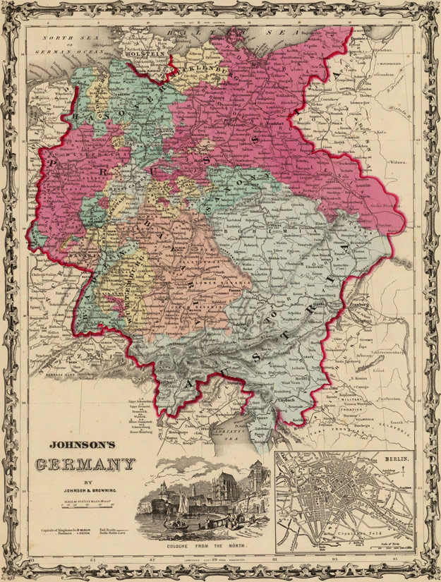 Germany 1860 Johnson   Browning Historic Map Reprint Germany 1860 Historic Map by Johnson   Browning