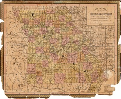 Missouri State 1850 51 Historic Map by Thomas  Cowperthwait  Version     Missouri State 1850 51  Version A  Historic Map Reprint