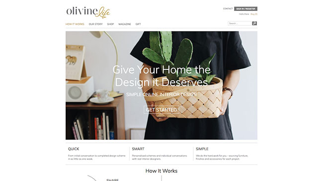 Screenshot of the Olivine Life website, made with WordPress