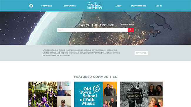 Screenshot of the StoryCorps Archive website, made with WordPress