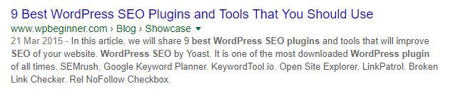 Screenshot of a Google search for 'best WordPress SEO plug-in'