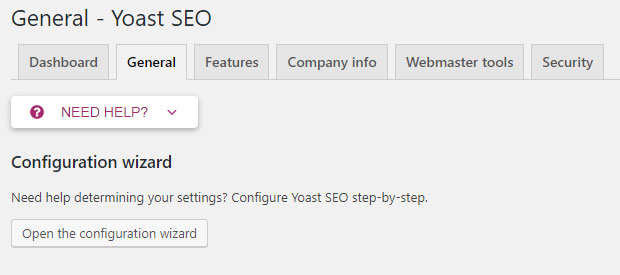 Screenshot of the Yoast plug-in showing the Configuration Wizard