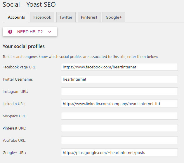 Screenshot of the Yoast plug-in showing the Accounts tab of the Social section