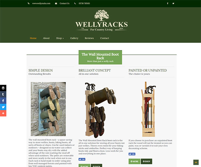 Screenshot of the front page of Wellyracks