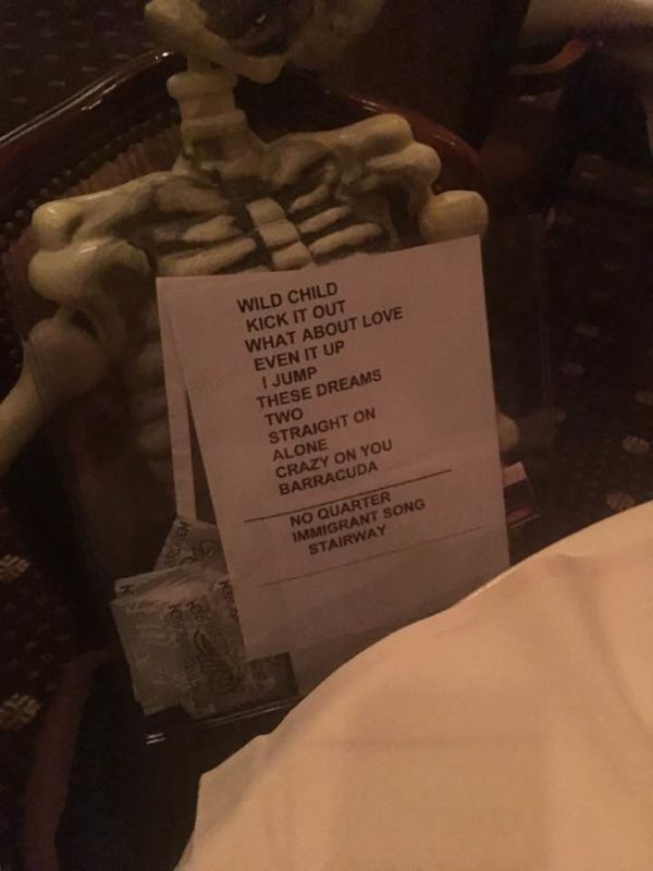 Setlist for October 22nd 2016