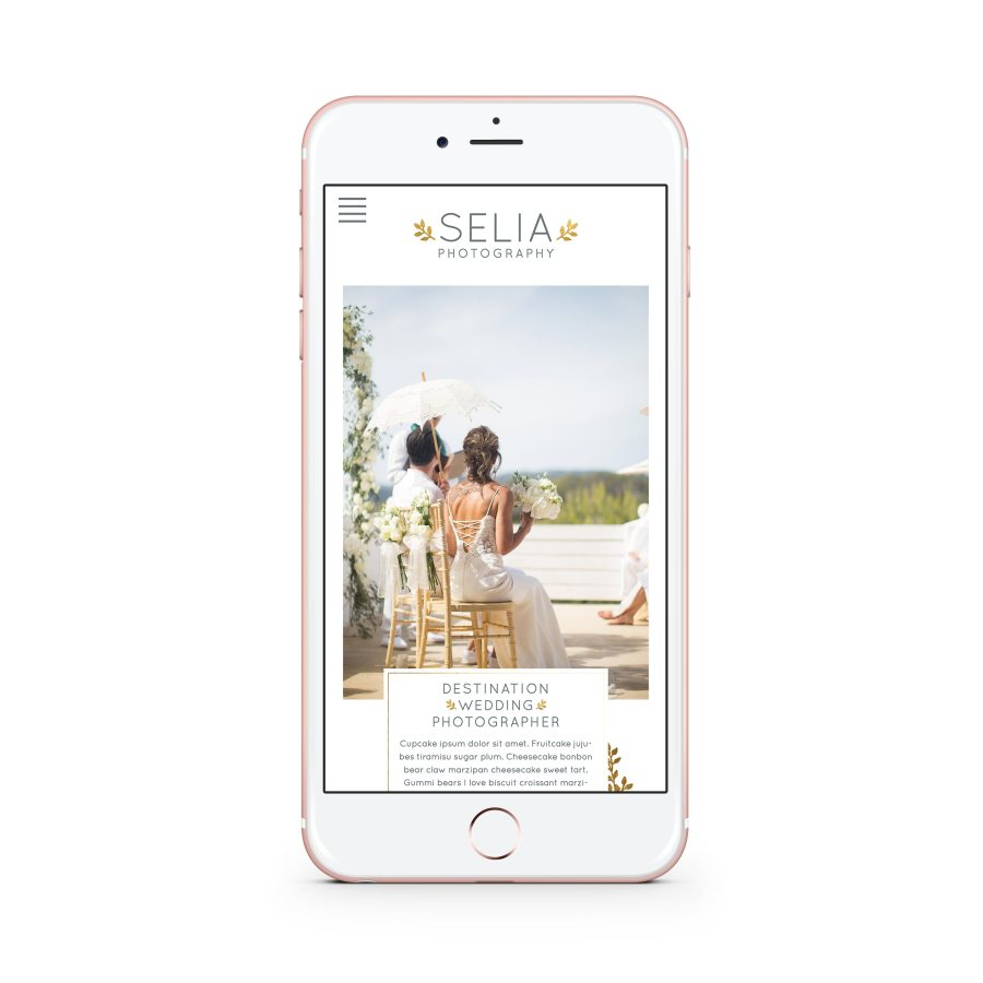 Responsive destination wedding photographer website in Ibiza - Golden leaves and watercolor flowers by Claudia Orengo from Heartmade.es - Design for Happiness